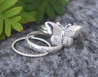 Butterfly ring, Forest Ring, Silver butterfly ring, Silver rings, stack rings, silver stacking rings, moth ring, hedgewitch, butterflies