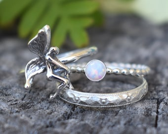 Fairy ring, Forest Fairy Ring, Silver fairy ring, Silver rings, opal rings, silver stacking rings, forest ring, hedgewitch, garden fairy