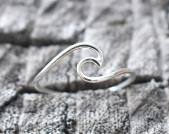 Wave ring, dainty wave ring, womens wave ring, beach wave ring, ocean ring, ocean wave ring, pura vida ring, surfer ring, nautical rings