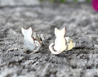 Kitty studs, Cat Studs, Cat Earrings, Cat Stud Earrings, Cat Jewelry, Cat Lover Gift, Sterling Silver Cat Earrings, Kitty Earring, Kitten