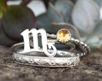 Scorpio Rings, November Birthstone ring, Star Sign Ring, Zodiac Ring, Scorpio Zodiac Ring, Constellation Ring, astrology ring, October ring