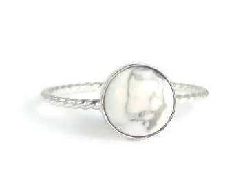 Marble Ring, White Marble Ring, Howlite Ring, White Howlite, Marble, White Marble, Gemstone ring, stacking ring, sterling silver, minimalist