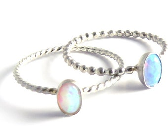 Opal Ring, Opal stacking ring, October birthstone ring, libra ring, silver stacking ring, birthstone ring, october ring, scorpio ring