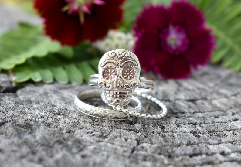 Sugar Skull Ring Skull Ring Day of the Dead ringday of the image 0