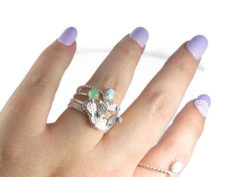 Prickly Pear Rings Turquoise Rings sterling silver rings Cactus Rings boho Cacti ring set Silver Cactus rings silver stacking rings