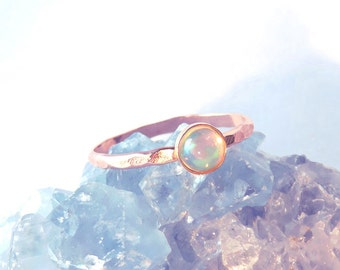 Rose Gold Opal, Opal Ring, Opal Stacking Set, Rose Gold Opal Rings, October birthstone ring, boho fashion, festival fashion, stacking ring