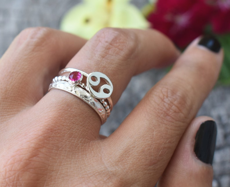 Cancer Zodiac Ring astrology ring Constellation Ring July astrology Zodiac Ring July Birthstone ring Star Sign Ring Cancer Rings