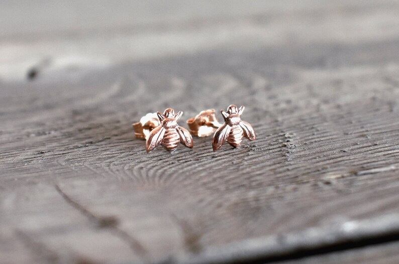 sterling silver bee posts Bee studs bee jewelry tiny bee rose gold Bee Earrings minimalist stud Rose Gold studs Silver Bee earrings