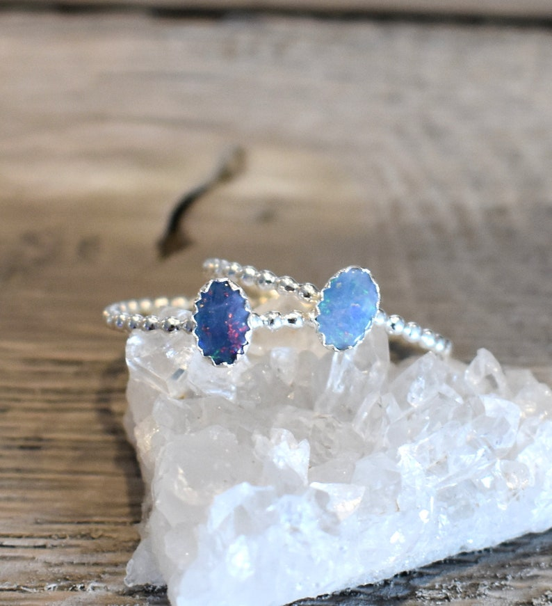 7d46495c91780 Opal Ring, Opal stacking ring, October birthstone ring, libra ring, silver  stacking ring, birthstone ring, october ring, scorpio ring
