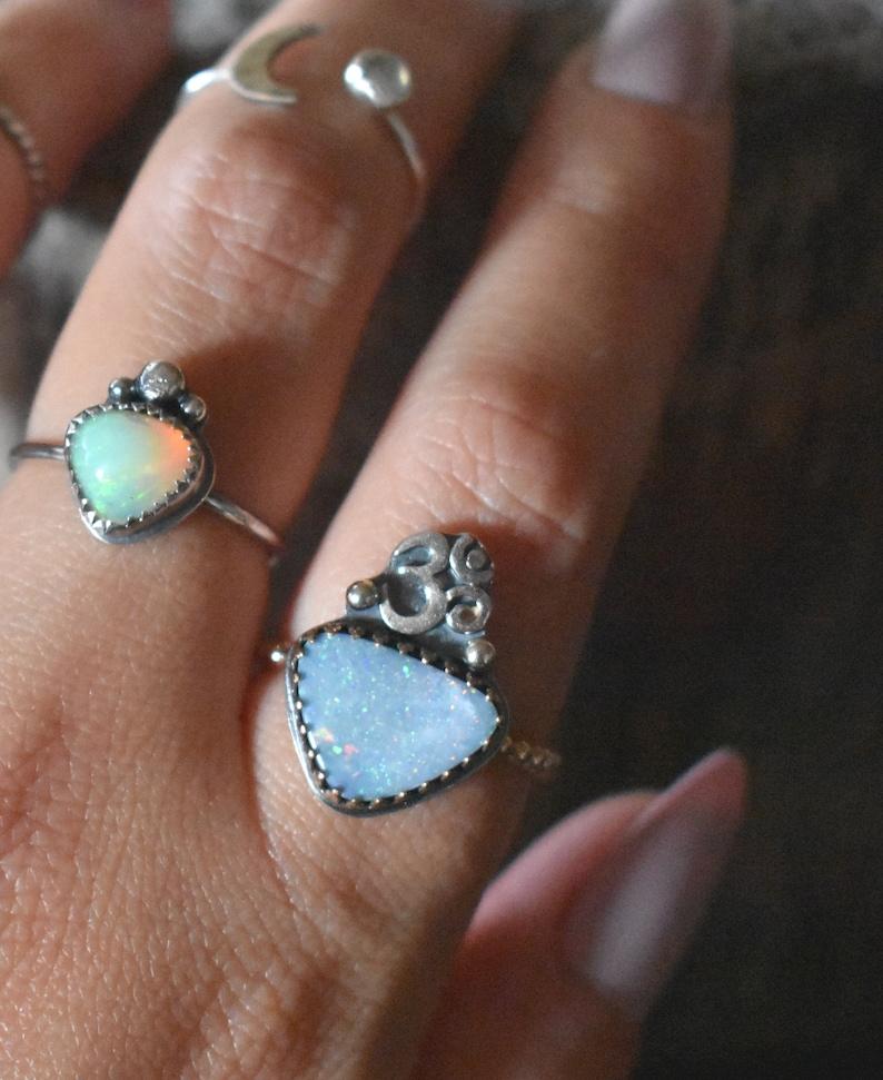 Opal ring Crown chakra Yoga ring Australian Opal ring Ohm Ring Size 8 libra Opal October birthstone Om ring Crystal healing