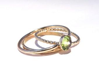 Peridot Ring, Peridot Stacking Set, Gold peridot Rings, Stacking rings, August Rings, Gemstone stacking rings,  August Birthstone rings