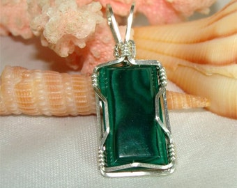 Green MALACHITE Stone STERLING Pendant with Free Leather necklace