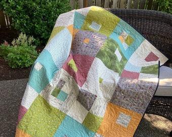Handmade Quilt - Throw quilt - Lap Quilt - City Streets - Modern - Cotton - Handmade - Homemade