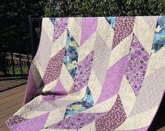 Handmade Quilt - Throw quilt - Lap Quilt - Purple - Peace - Geometric - Cotton - Handmade - Homemade