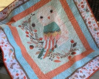 Handmade Quilt - Baby Quilt - Peach - Owl - Minky - Cotton - Handmade - Homemade