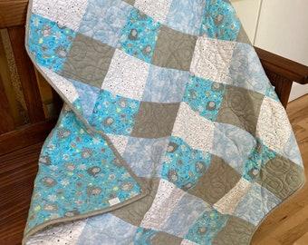Handmade Quilt - Baby Quilt - Blue - Elephants - Flannel - Cotton - Handmade - Homemade