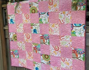 Handmade Quilt - Baby Quilt - Pink - Owl - Cotton - Handmade - Homemade
