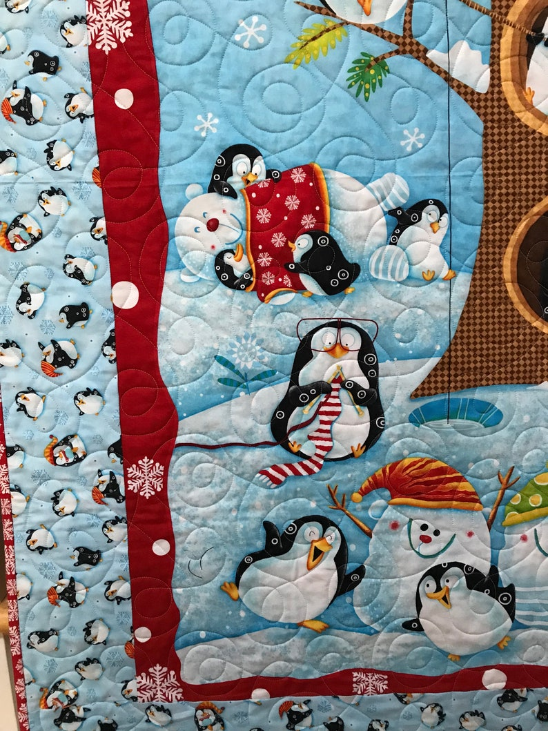 Homemade Throw Quilt Baby Quilt Red Bears Penguins Handmade Quilt Blue Snow Cotton Children/'s Quit