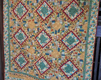Handmade Quilt - Throw quilt - Lap Quilt - Colorful - Geometric - Cotton - Handmade - Homemade