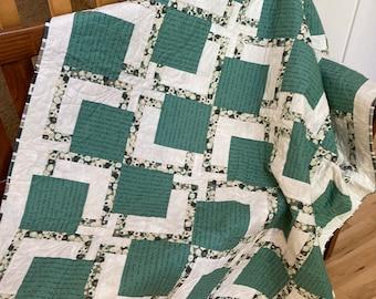 Handmade Quilt - Throw quilt - Lap Quilt - Adventure - Outdoors - Green - Cotton - Handmade - Homemade