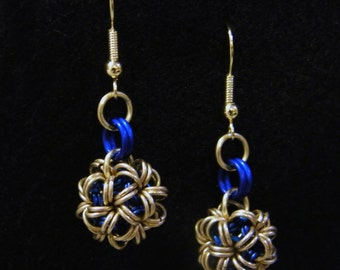 Blue and Brass Japanese Ball Earrings