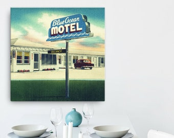 Mid Century Motel Art, Mid Century Art 30x30 , Beach Art, Retro Motel Sign, Travel Art, Beach Decor Art, Blue Ocean Motel, Beach Wall Art