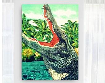Retro Alligator Art Canvas, Retro Alligator Print, Christmas Gifts Mid Century Oversized Canvas Art 36x48 Florida Gators Gifts