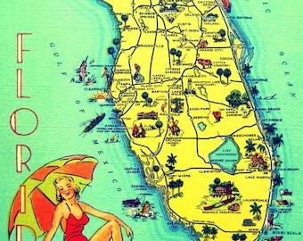 SUNNY FLORIDA map art Print, coastal decor, Florida beach house wall art, Florida Christmas gifts