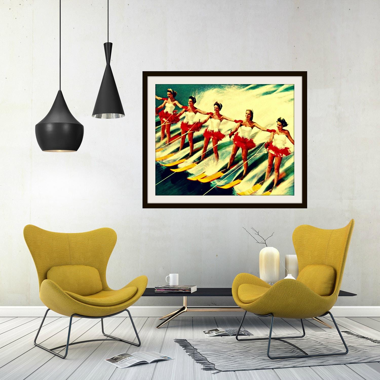 Retro Beach Art Water Ski Decor mid Century Modern ...