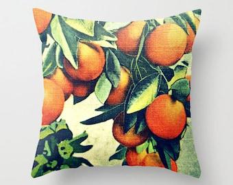 Oranges pillow covers 18x18, Botanical Throw Pillows, Mom gifts, Old Florida Decor, Oranges Throw Pillows