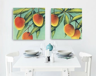 Kitchen Art Canvas, Coastal Kitchen foodie gift men Mango Art Canvas Foodie Gift Men Ideas Mom Gift Vintage Botanical Art Canvas Florida Art