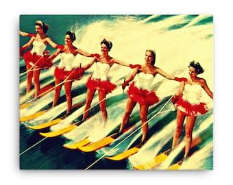 Vintage Art, Water Ski Art Canvas, Mid Century Canvas, Bathroom Art, Water Skiers Canvas, Vintage Ski Canvas 16x20
