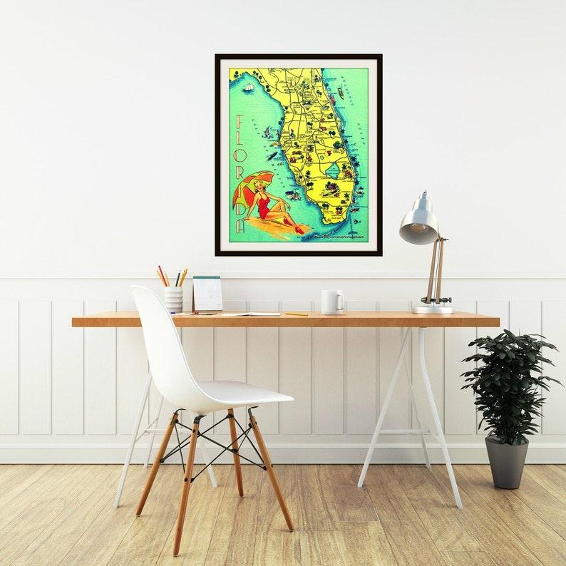 SUNNY FLORIDA map art Fine Art Print living room art beach house decor Florida beach house wall art