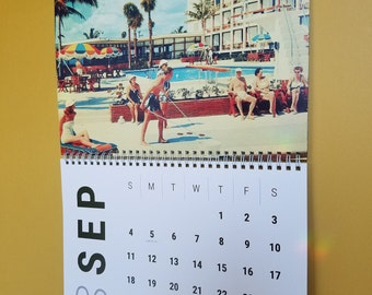 2022 Mid Century Modern Calendar, Mid Century Christmas Gifts, Retro Motel Pool Calendar,  Spiral-Bound Wall Calendar, MCM gifts