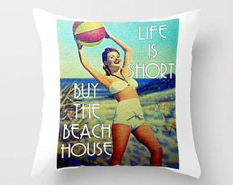 Beach Christmas Gifts, Beach House Throw Pillows, Beach House Christmas Gift, Beach hostess Gifts,