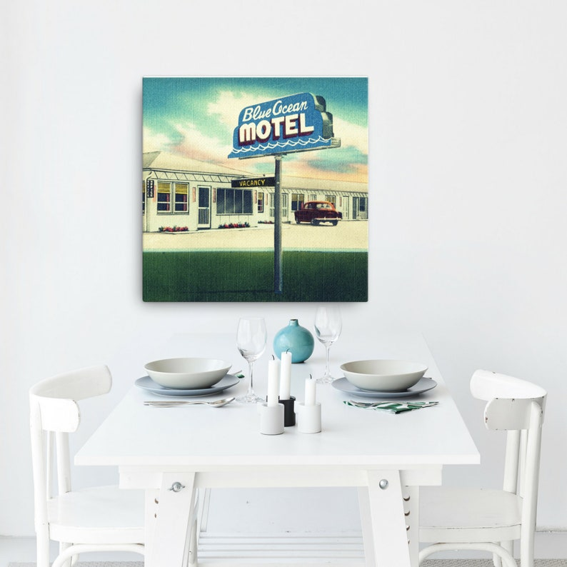 Awesome Canvas Wall Art For Living Room Mid Century Art Coastal Art Canvas 30X30 Retro Motel Sign St Augustine Art Coastal Decor Eclectic Decor Download Free Architecture Designs Embacsunscenecom
