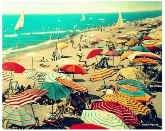 Vintage Beach Umbrellas print, Crowded Beach in Italy photo  living room art, Father's Day gifts from Son, Mom Gifts
