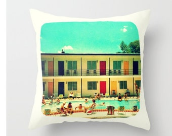 Mid Century Pillow Covers 18x18, Pool House Pillows, Summer Pillows, MidCentury Gifts, Swimmer Gifts, Diver Gifts, Summer Decor