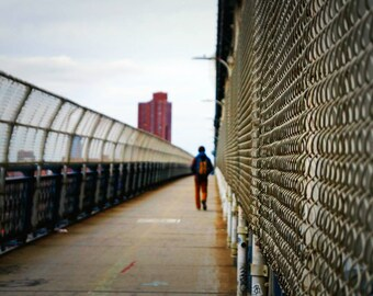 Walking Through the Manhattan Bridge, New York City Photography Print