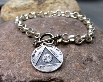 Just For Today, 24 Hour Anniversary Chip Bracelet - Sterling Silver  - o d a a t