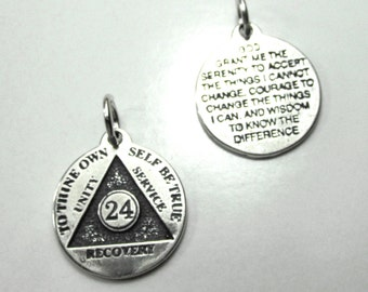 Just For Today, 24 Hour Anniversary Chip - Sterling Silver Charm - o d a a t