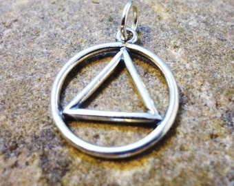 AA Circle and Triangle in Sterling Silver -- o d a a t