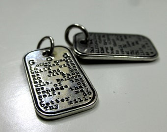 Third Step Prayer Dog Tag, O D A A T - Sterling Silver