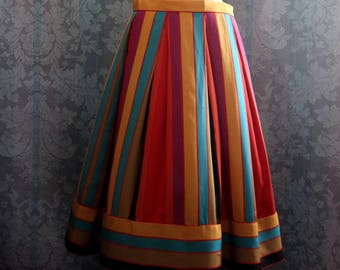 Sz S-M 70's Swing Kids Disco Rainbow Vintage Skirt