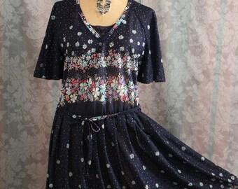 Sz S-M Blue Vintage Almost Sheer Spring Floral Dress