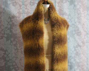 Vintage Brown Faux Fur Scarf Shawl Wrap