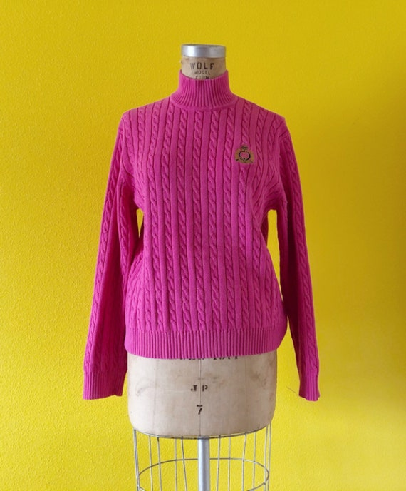 S-M 80s Ralph Lauren Embroidered Logo Pink Tunic - image 5