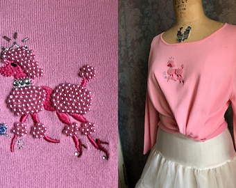 S-L 90s Pink Poodle Vintage Blouse Beaded and Embroidered Pin-Up Top