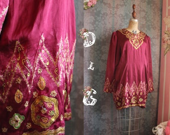 Sz S-M Vtg 80s Silk Cultural Burgundy Embroidered Oriental Mini Dress