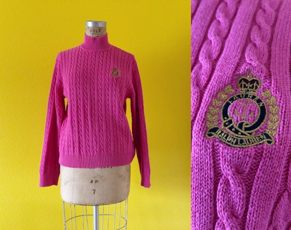 S-M 80s Ralph Lauren Embroidered Logo Pink Tunic - image 1